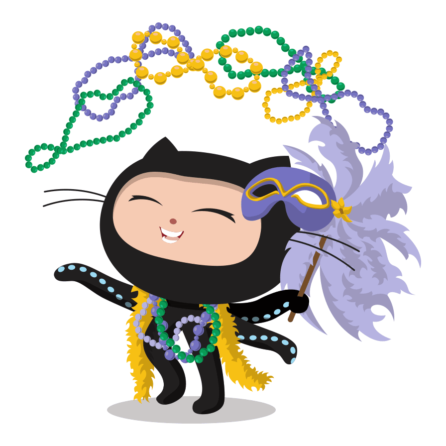 An octocat partying