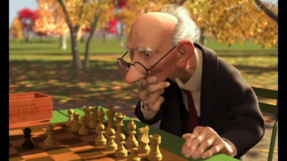 The short, which shows an old man who competes with himself in a game of chess, was Pixar's first film to feature a human being as its main character.
