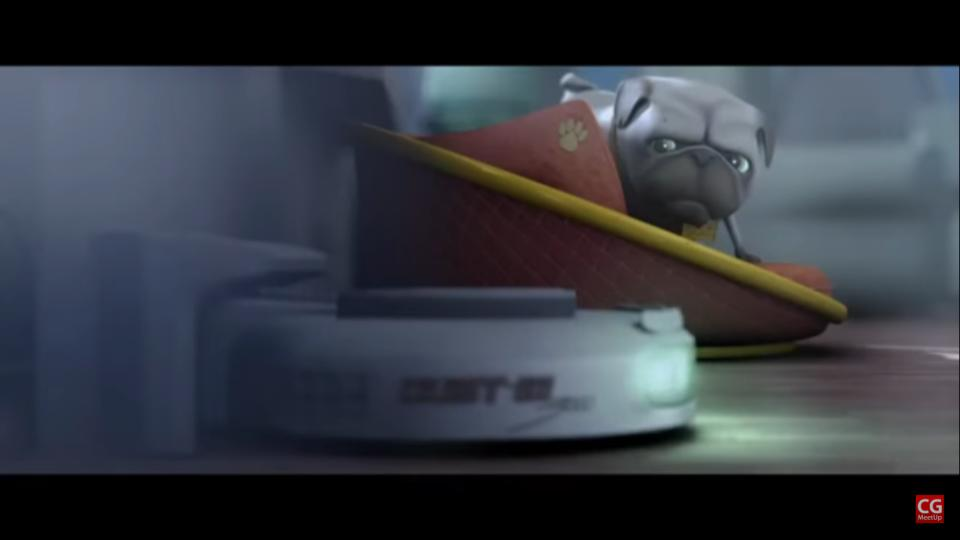 """3D Animated short film """"Dustin"""" is an animated comedy about a pug who, much to his chagrin, has to arrange with an automatic cleaning robot as his new roommate."""