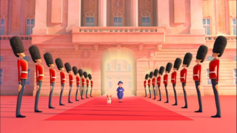 After a sudden burst of wind in Buckingham Palace, the Queen's hat gets carried away around London. Fortunately, a trustworthy guard and a playful corgi run after it!