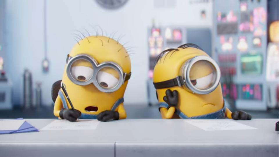 Two minions get in a competition.