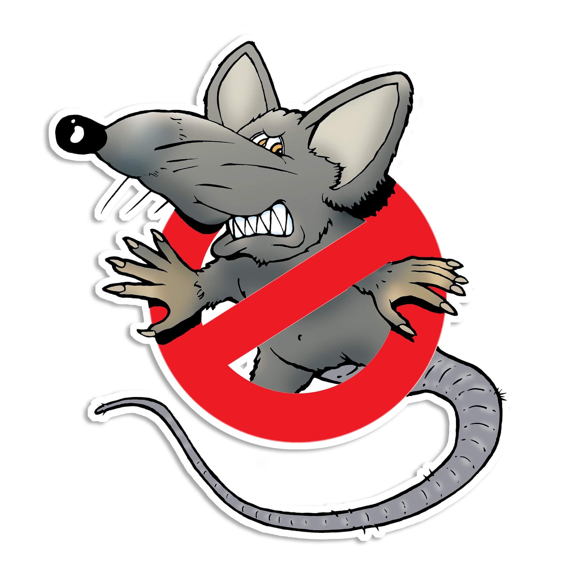 Disegno di un ratto arrabbiato con il simbolo del divieto sopra