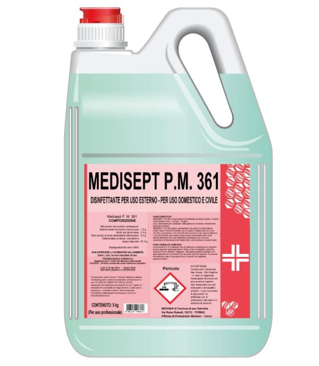 Un flacone di disinfettante medisept PM 361