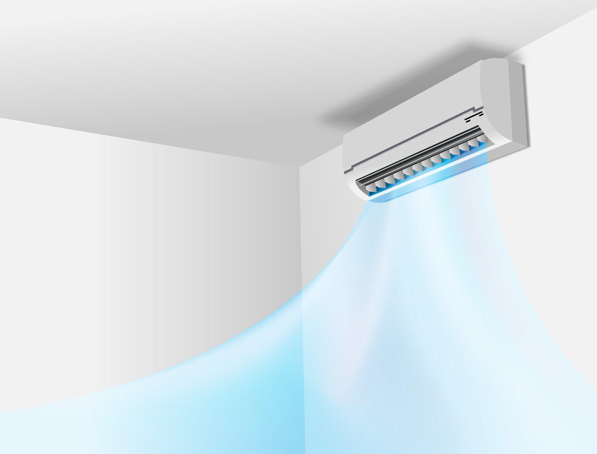 Illustrazione dello split di un condizionatore che emette aria pulita in una stanza