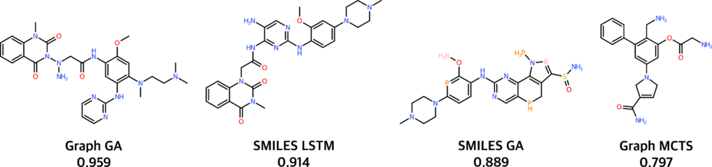 Best molecule generated by the considered baseline models for the Osimertinib MPO benchmark. The score is given out of a maximum of 1.