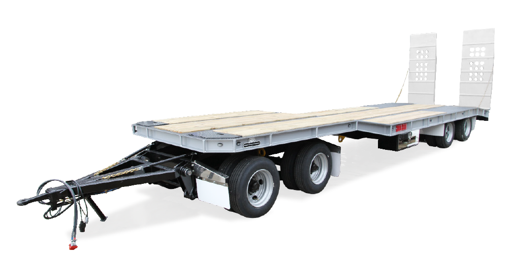 Front view of white transport trailer
