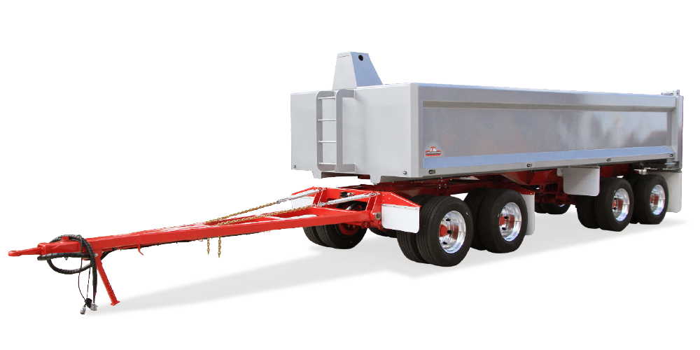 Front view of transport trailer with storage