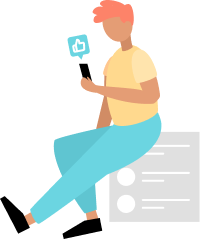 Animated person sitting while looking at iphone