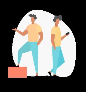 Two guys facing away on phones