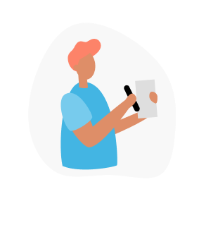 Animated person holding up a piece of paper
