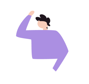 Animated person raising hand