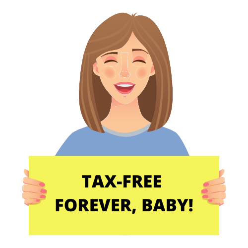 woman holding tax-free sign