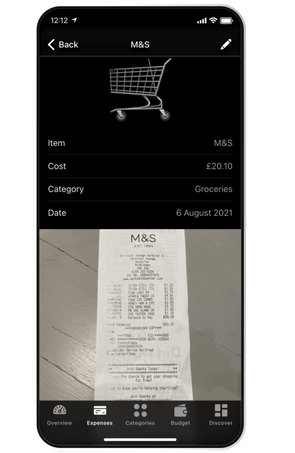 A screenshot of Receipts on Budget by Koody