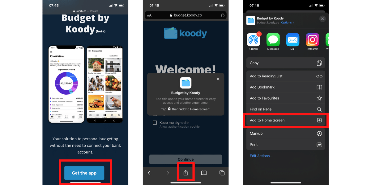 How to install budget by Koody on iOS - Step 1