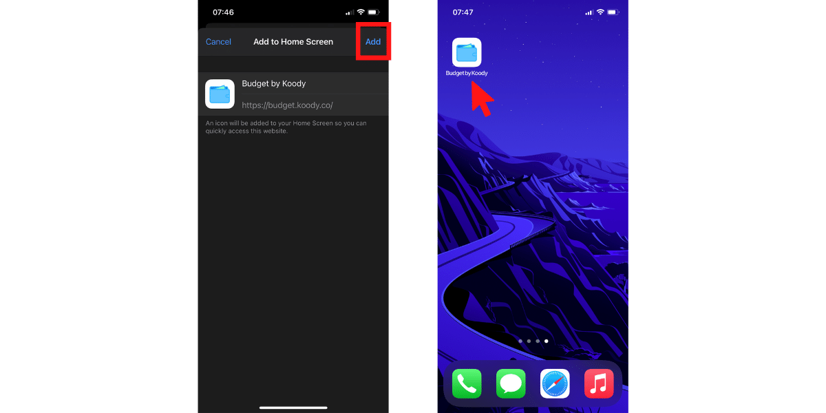 How to install budget by Koody on iOS - Step 2