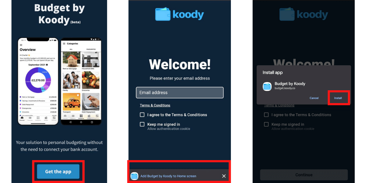 How to install budget by Koody on Android