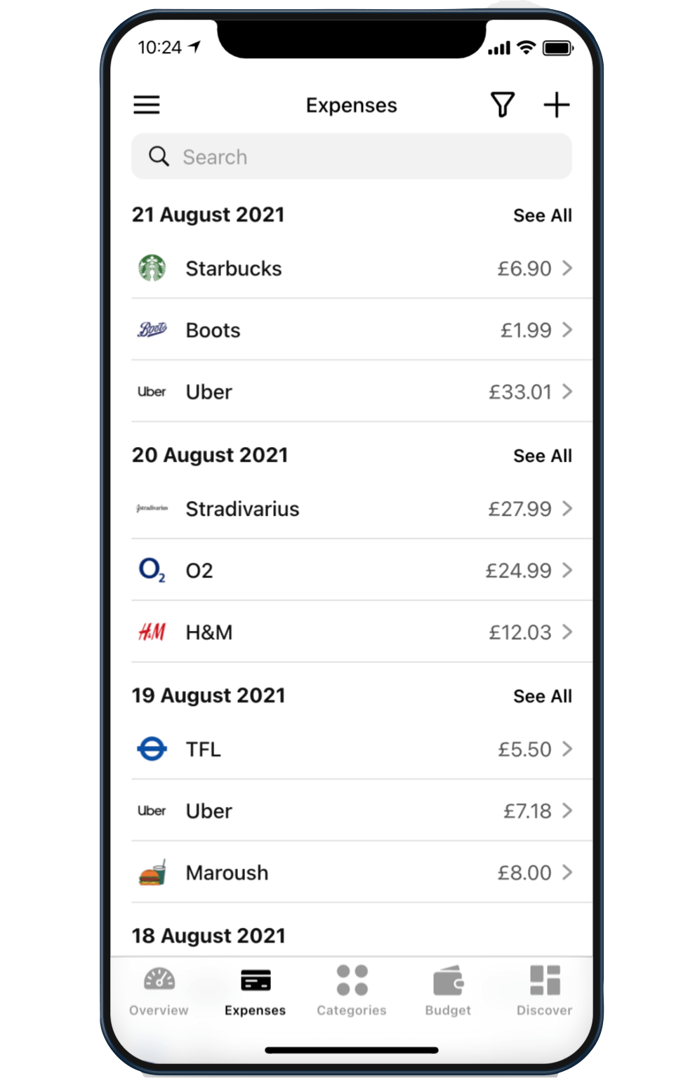 A screenshot of the Expenses tab on Budget by Koody