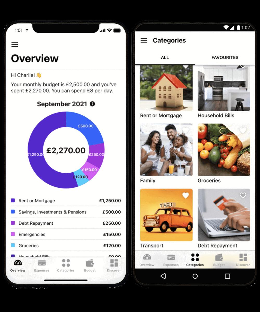 Two screenshots of Budget by Koody