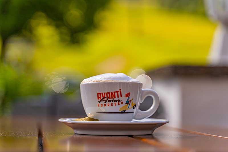 Leckerer Cappuccino auf der Sonnenterrasse