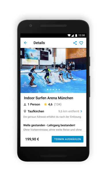 Indoor-Surfen und weitere Erlebnisse rund um Wasser & Wind findest du in deiner Freizeitapp.