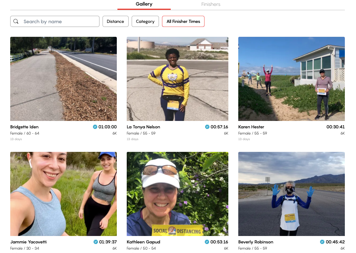 Finishers' gallery from Social Distancing 6k event, women in athletic wear, asphalt roads