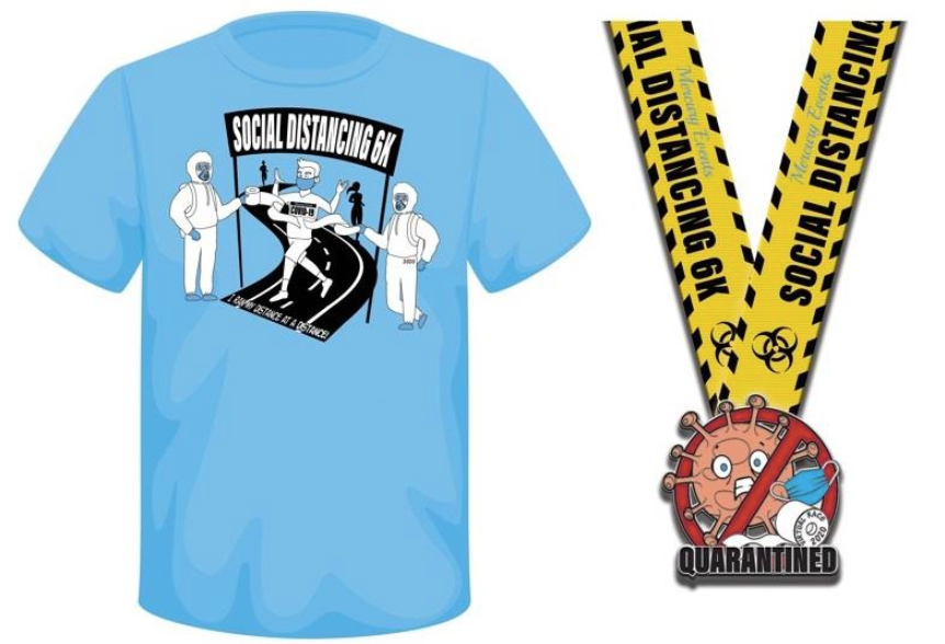 Blue finishers' t-shirt and colourful finishers' medal for social distancing 6k virtual event. Both have Covid-19 themed designs including masks and toilet paper.