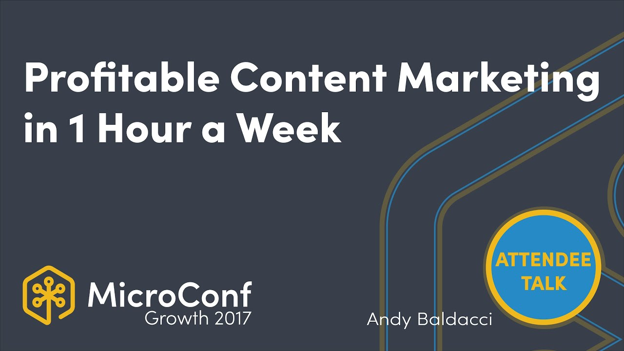 Profitable content marketing in 1 hour a week