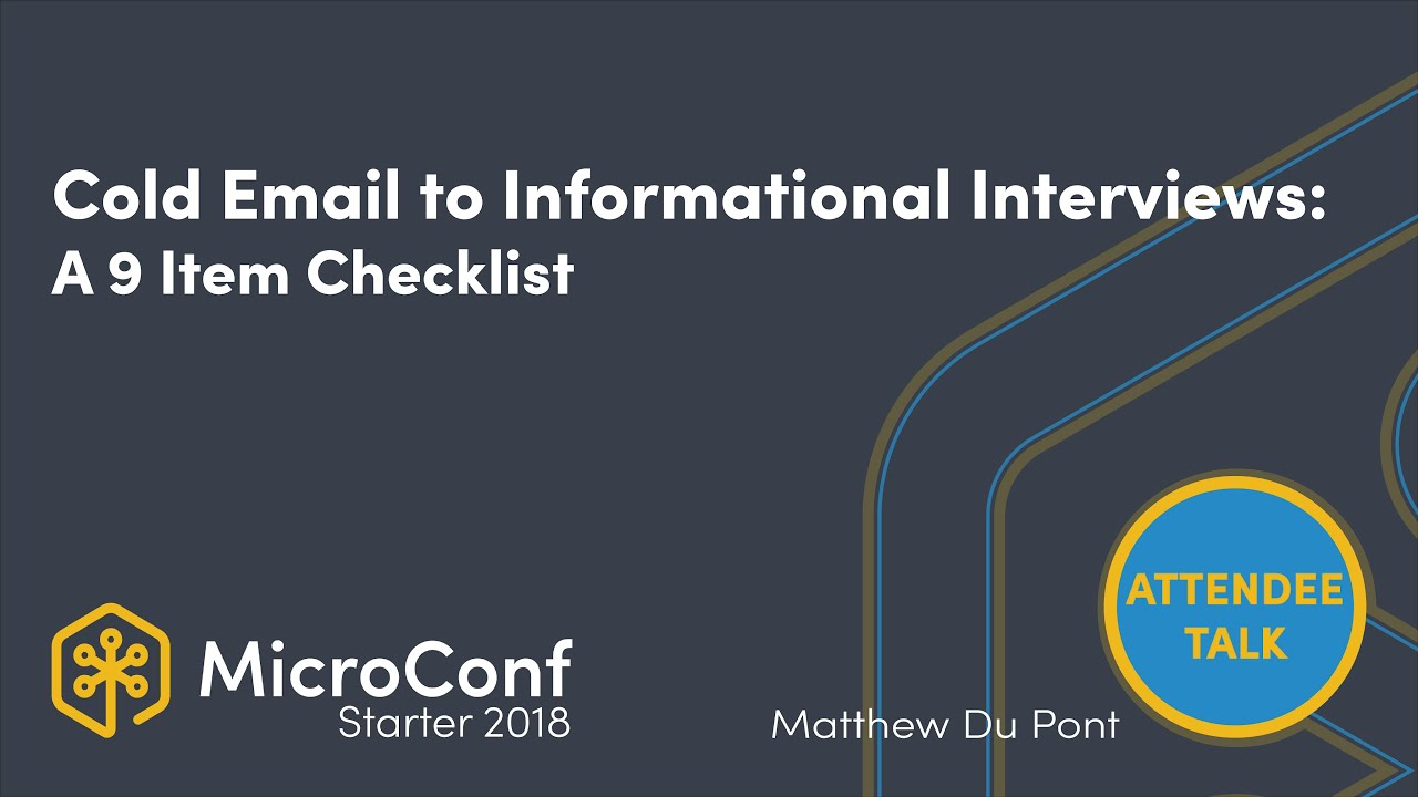 Cold email to get informational interviews: a 9 item checklist