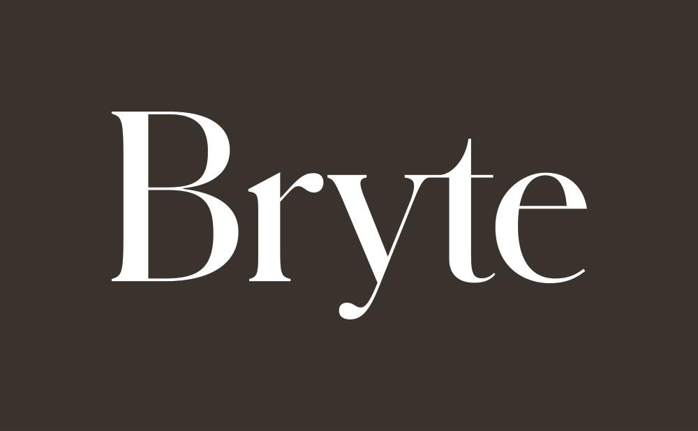 bryte logo in dark brown background