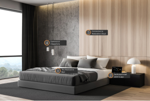 bed against a wooden wallpaper