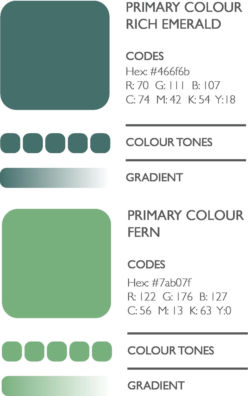 Colour scheme in greens brand design