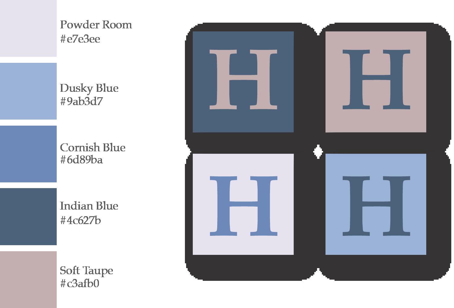 Branding colour palette in blues