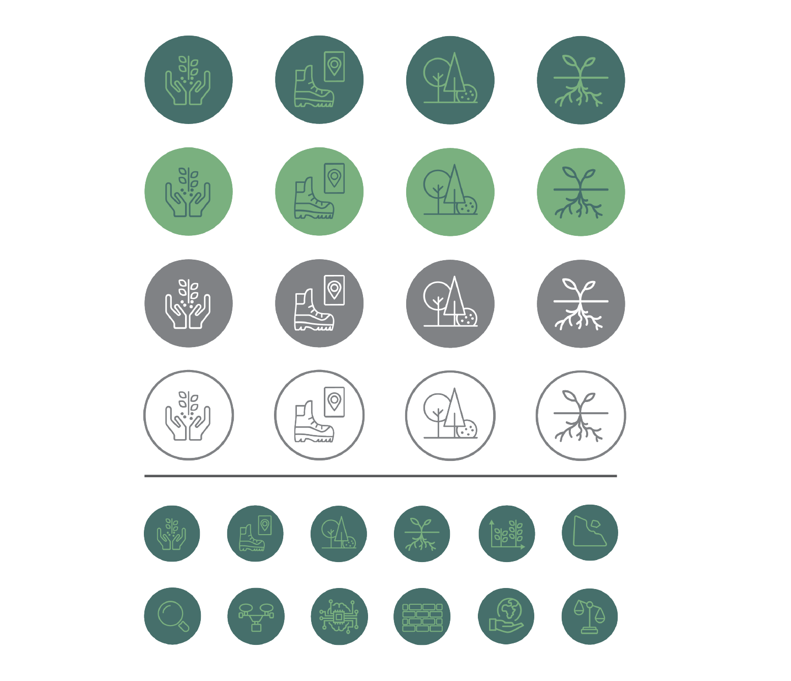brand design Iconography in greens and grass