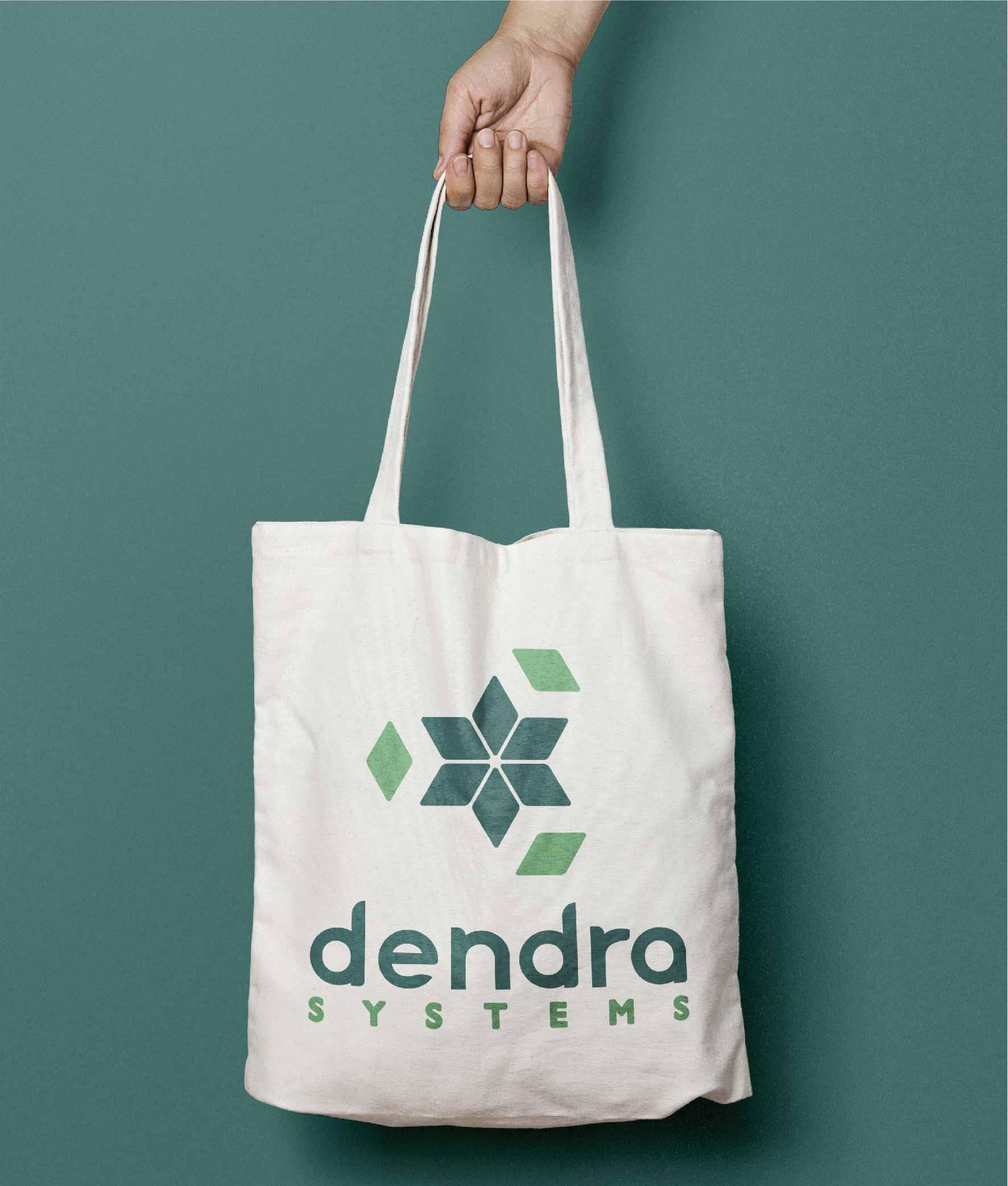 brand design on canvas bag green logo