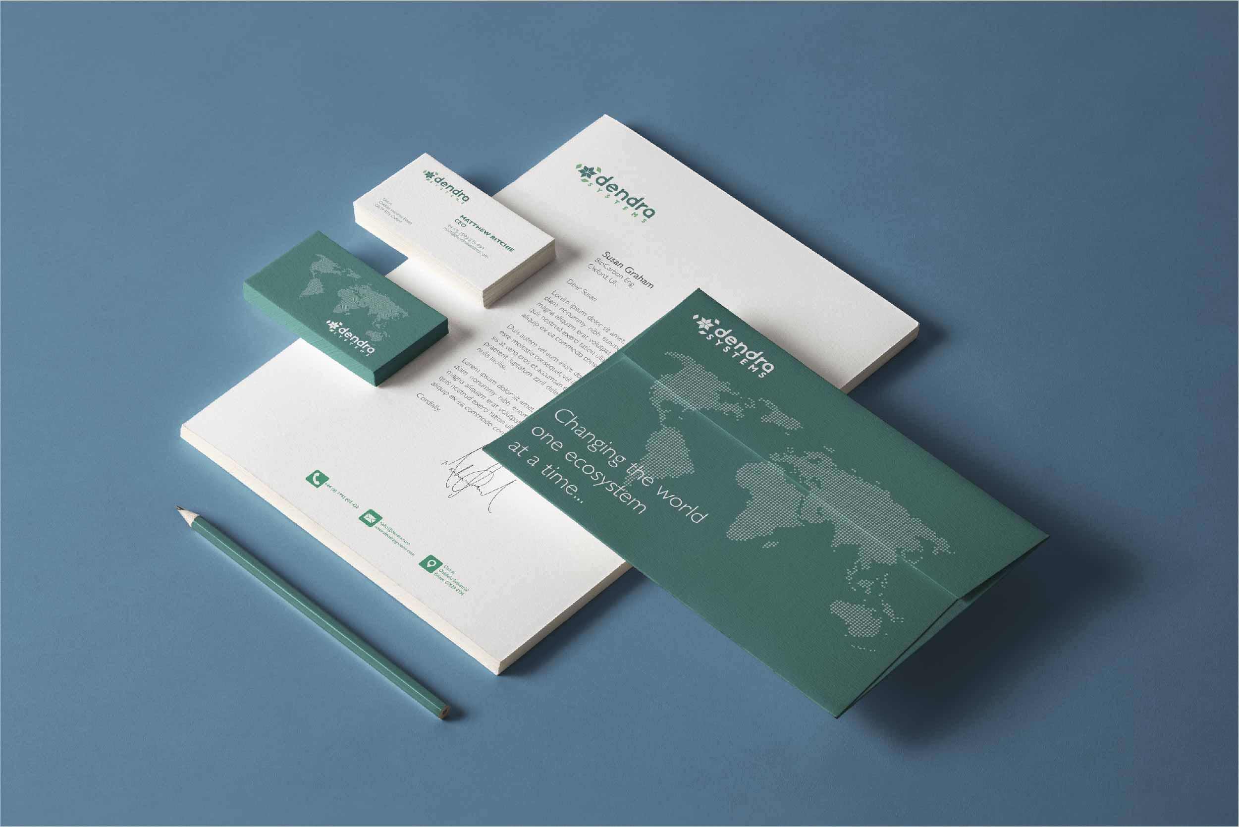 brand design on business stationery
