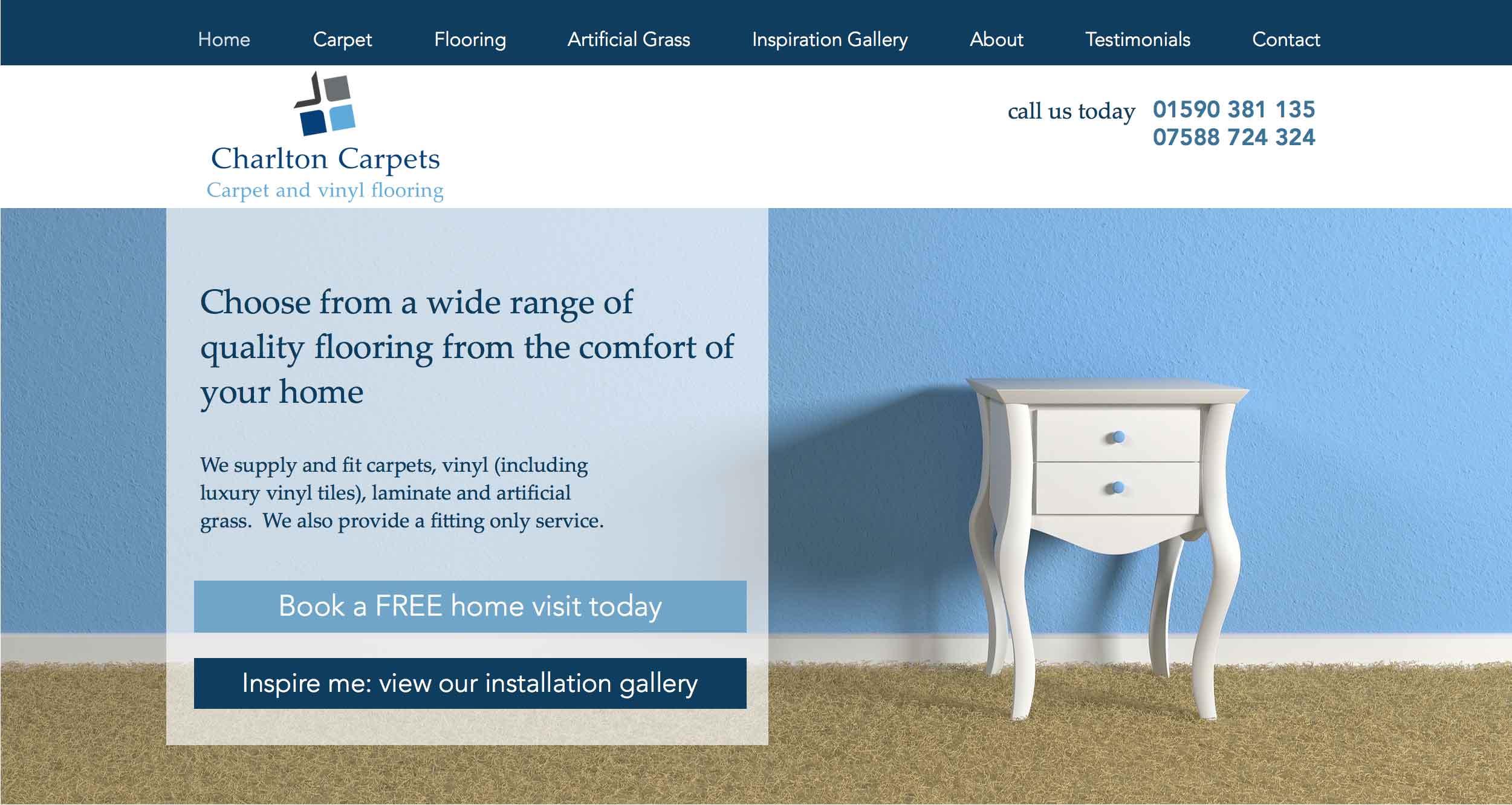 website design in blues