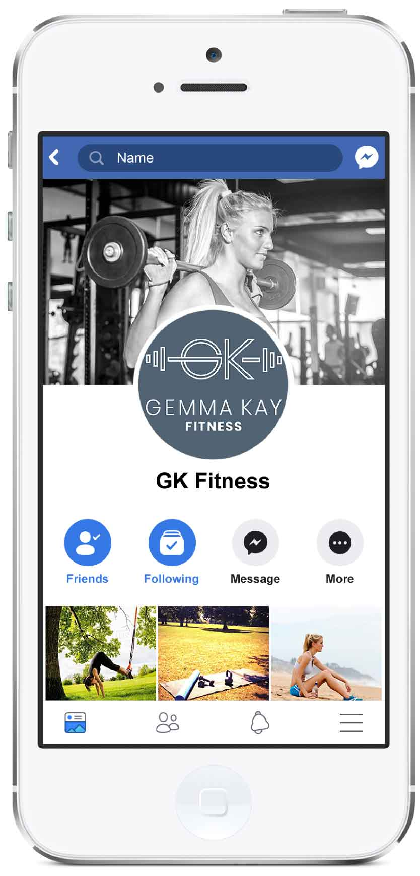 Facebook mockup for fitness Facebook