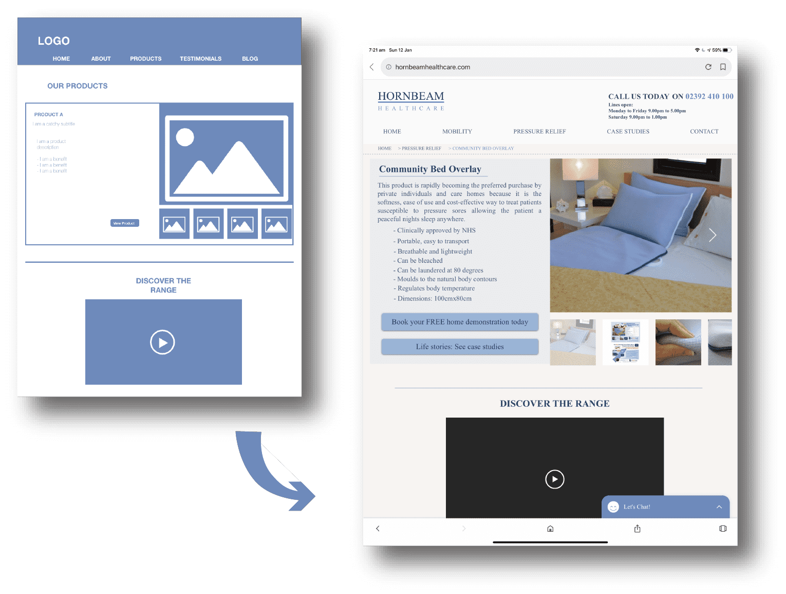 Wireframe for healthcare company