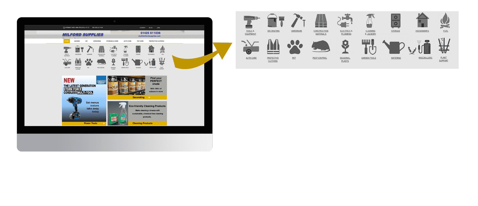 UI Website web design for Milford Supplies