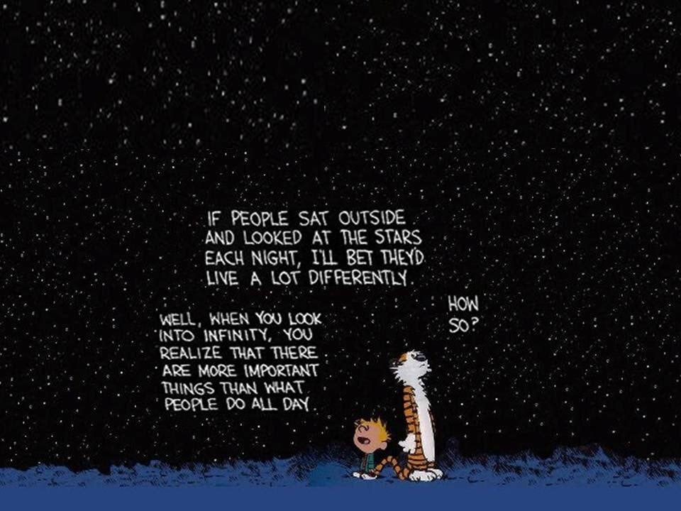 r/QuotesPorn - If people sat outside and looked at the stars each night, I'll bet they'd live a lot differently. ~Calvin and Hobbes [960*720]