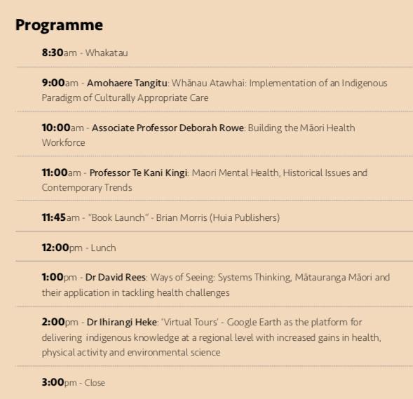 Maori health summit schedule