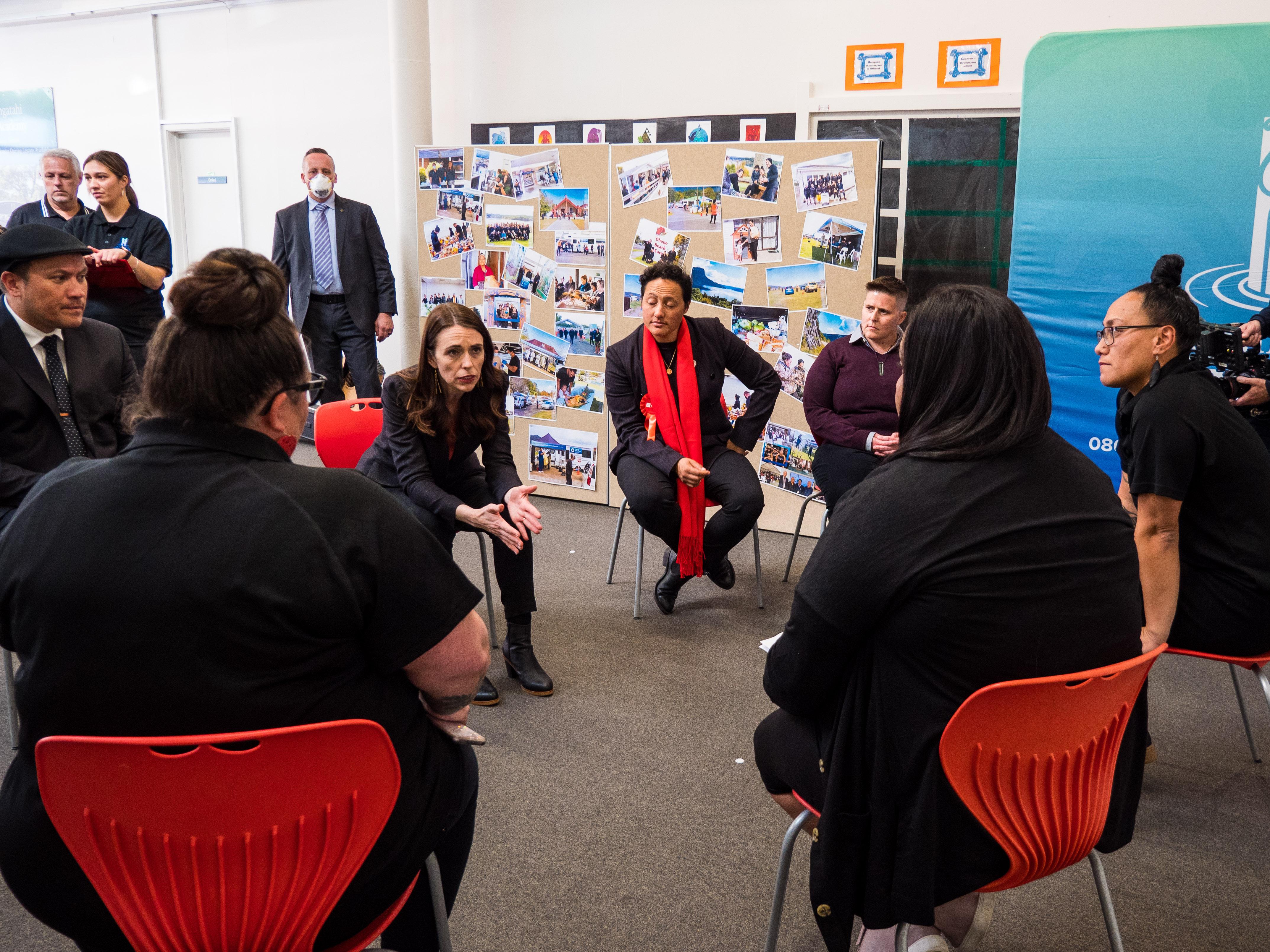 Prime Minister Jacinda Ardern converses with Te Puna Ora o Mataatua staff