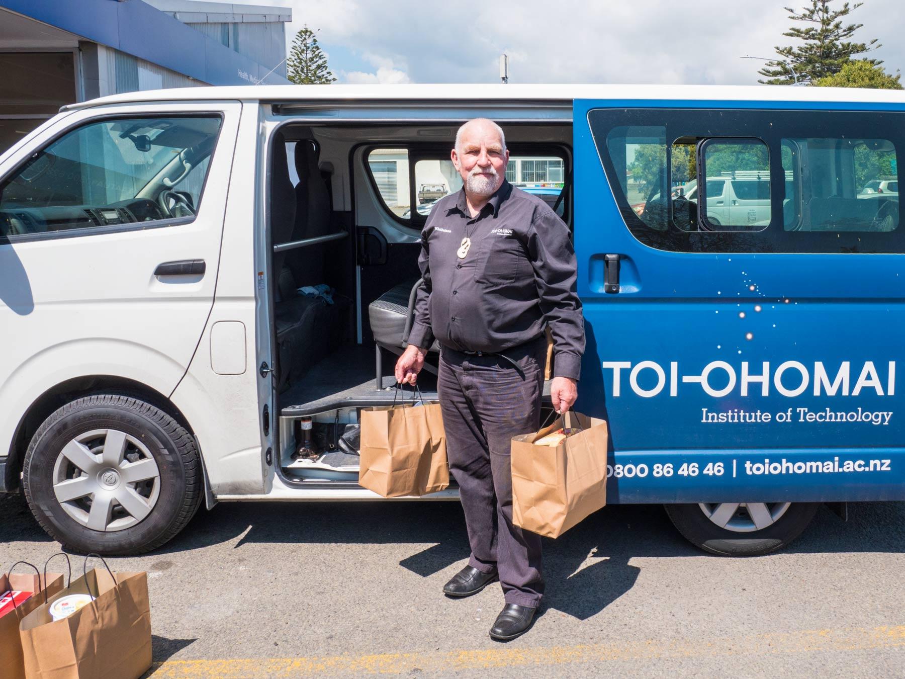 The Toi Ohomai van delivers food parcels
