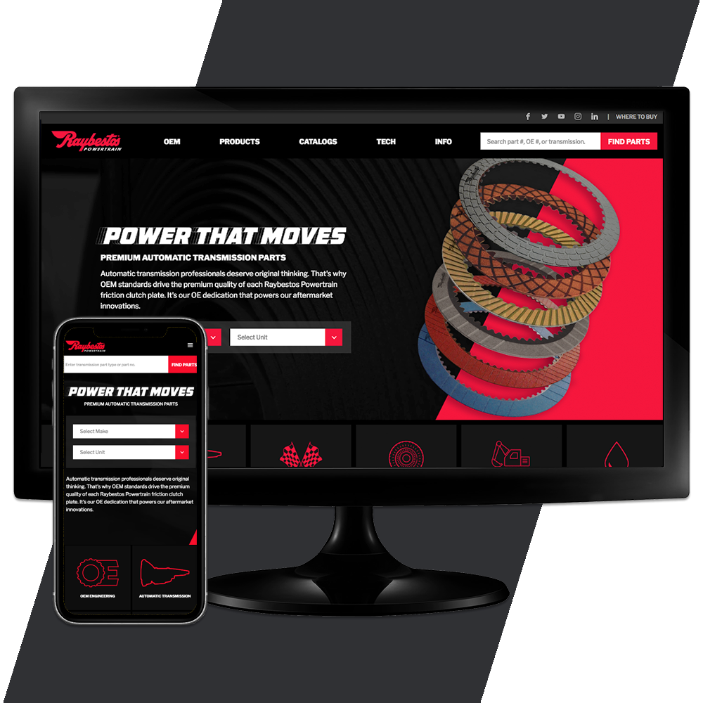 Raybestos Powertrain - Crawfordsville, IN Website Design by Media Wrench