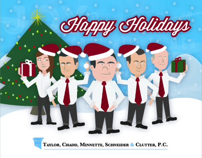 Branded Christmas Card Illustration for Law Firm - Crawfordsville, IN Graphic Design by Media Wrench LLC