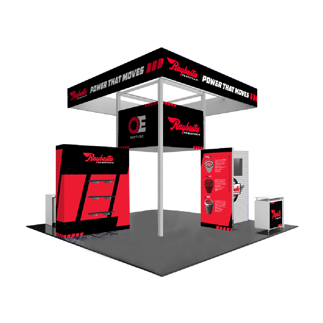 Raybestos Powertrain Trade Show 20x20 Booth - Crawfordsville, IN Event Exhibit Graphic Design by Media Wrench LLC