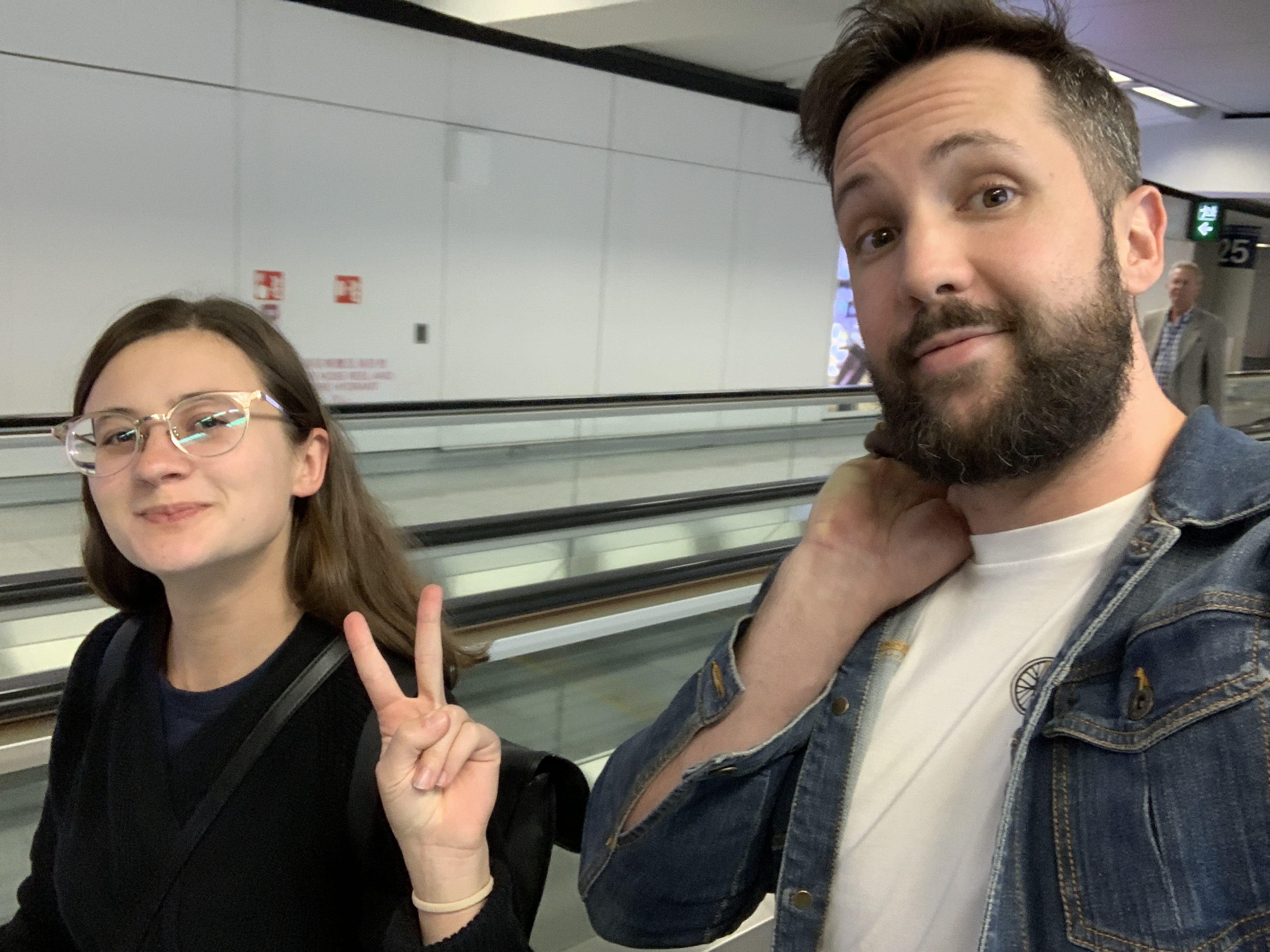 Liv and Will at the airport