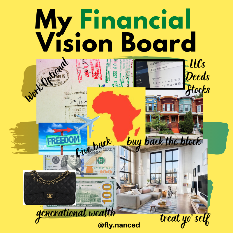 Cinneah's financial vision board. It has scrapbook images of travelling, buying a house and being financially independent.