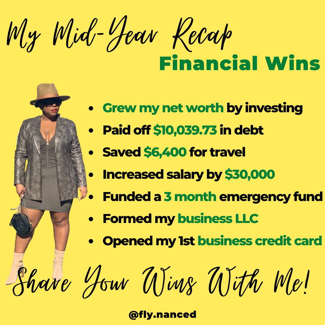 An infographic of Cinneah's mid year recap of all the financial goals she has met for herself.