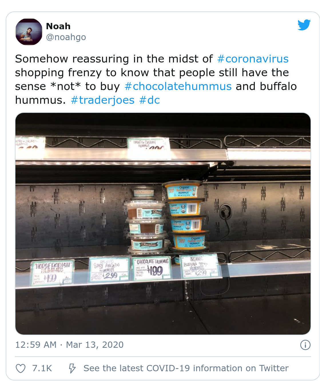 "Tweet captioned "" Somehow reassuring in the midst of coronavirus shopping frenzy to know that people still have the sense *not* to buy chocolate hummys and buffalo hummus"" and an image of trader joes with leftover chocolate and buffalo hummus on their shelves."